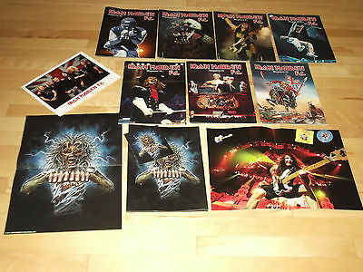 Iron Maiden FC Fan Club Lot 7 Magazines, Poster, Pin Button Badge and More!!!!!!