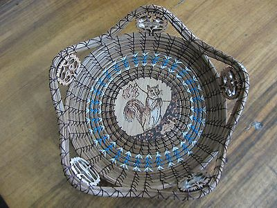 Wood Burnt Image of a Squirrel Pine Needle Basket with Turquoise Accent