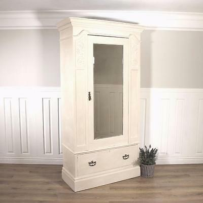 Shabby Chic Wardrobe Armoire Linen Press Bedroom French Louis Triple double pine