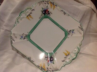 vintage rare Shelley sandwich / cake plate. green and black, #11667