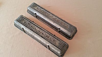 Vtg Corvette 1956-1959 SBC 7 Fin Aluminum Valve Covers Stagger Bolt GM 3726086
