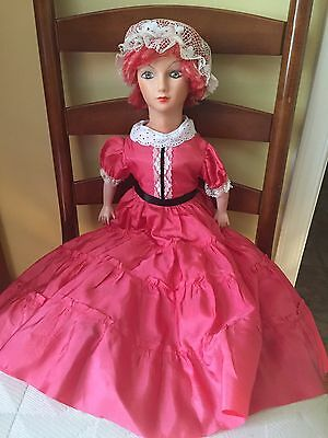 vintage boudoir Woman doll In Pink Dress With Lace Bonnet