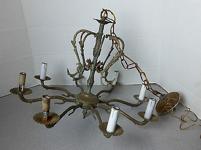 Vintage Ornate Brass Chandelier 8 Light Made In Spain Lamp Antique