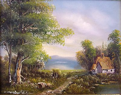 """Oil Painting On Canvas Signed """"minteer"""" Framed Woodland Scene With Cottage"""