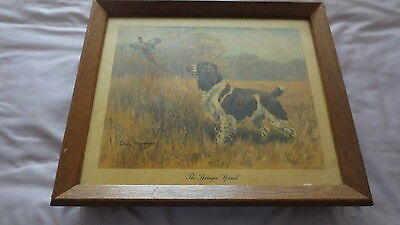 Vintage Hunting Scene Lithograph Music Box Butler's Tray Springer Spaniel