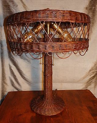 Antique Arts & Crafts Stickley Era WICKER TABLE LAMP Hand Made and Artist Signed