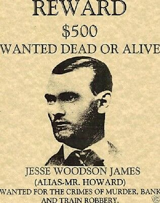Jesse James~(I Combine Shipping)~Outlaw,bank,train,poster,wanted,old West