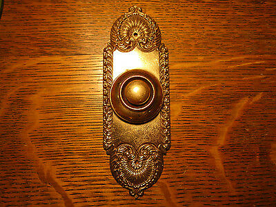 Antique Yale & Towne Y&T Victorian Brass DOOR BELL Push Button Electric Vintage
