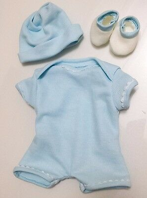 "Blue Baby Boy Dolls Clothes - For 18"" / 45cm Doll - Full Outfit Vest Hat Booties"
