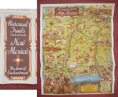 COLORFUL 1951 Pictoral / Pictorial MAP New Mexico NM - Historical Trails TRAVEL