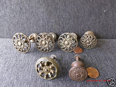 6 Antique/vintage Assorted Round Ornate Brass Cast Iron  Drawer Cabinet Pulls