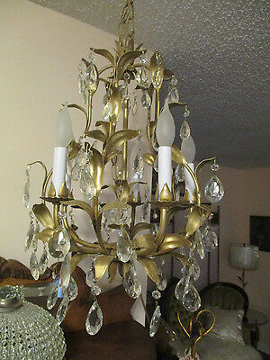 Fab! Vintage Italian Gilded Tole 5 Arm CHANDELIER Loaded w/ Crystal Prisms 21""