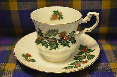"Beautiful QUEEN'S Rosina Bone China ""December"" Cup & Saucer-England"