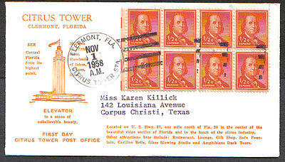 Us Fdc 1958 First Day Citrus Tower Post Office Benjamin Franklin 1/2 Cent Stamps