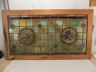 Antique 19th Century English Stained/Leaded Glass Handpainted Window Framed