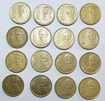 MEXICO lot 20 PESOS vintage world foreign Mexican 16 COINS