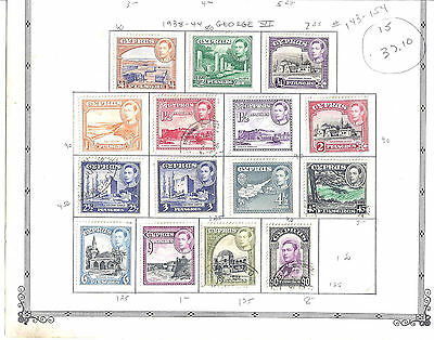 CYPRUS...# 143-154...1938/44...Almost a complete set...Mint & Used...SCV $ 37.10