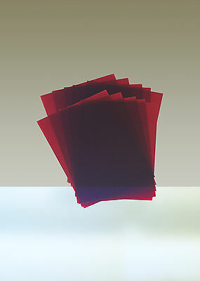 """Rubylith, Lot of 10 Sheets, 8"""" x 10"""", Red"""