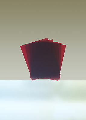 """Rubylith, Lot of 5 Sheets, 8"""" x 10"""", Red"""