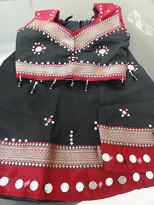 Girls 2-4 year Garba Indian Choli Brand New - Black & Maroon