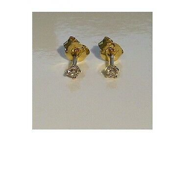 Solid 9ct Yellow Gold - Vintage - Sparkling 0.10ct Genuine Diamond Stud Earrings