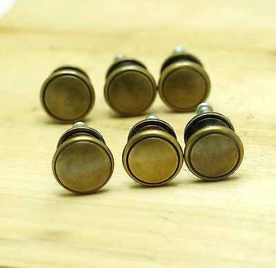 Set of 6 pcs Vintage Solid Brass Retro Round Cabinet Drawer Knob Pulls
