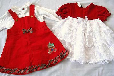 Lot of 2 Girls Dresses Holiday Size 24 Months 3 Pieces