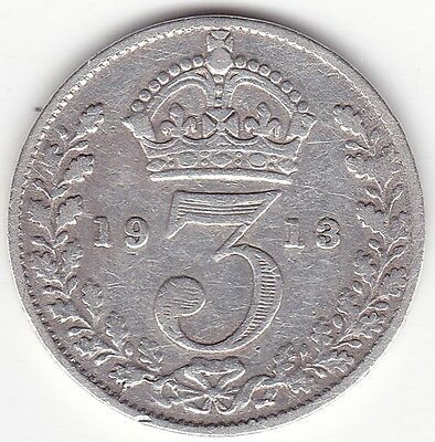 1913 Great Britain Silver 3 Pence Coin