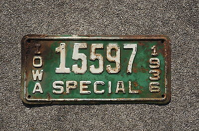 1936 Iowa SPECIAL License Plate