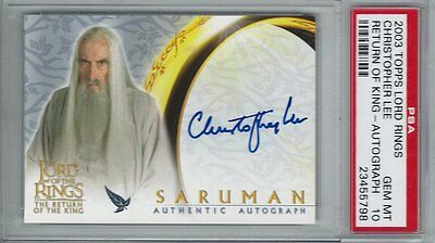 Lord of the Rings ROTK Topps 2003 Autograph Christopher Lee Saruman RIP PSA 10