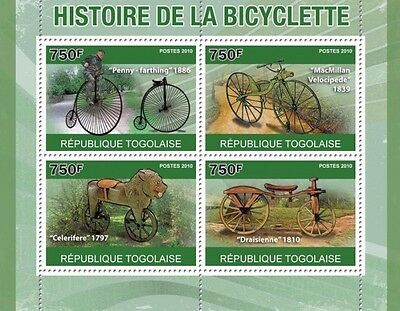 History of Bicycles Cycling Bicycle  Togo 2010 m/s Mi. 3749-52 #TG10407a