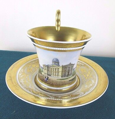 Fine Kpm Porcelain Cup And Saucer With Handpainted Panel Of Berlin Observatory