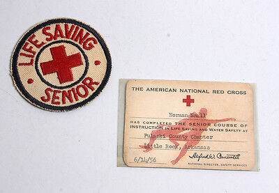 Vintage 1956 American National Red Cross Senior Lifesaving Patch & Card - Used!
