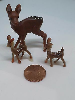 Lot 3 Vintage LITTLE Mini Plastic Christmas Reindeer Realistic Bambi Fawn Train