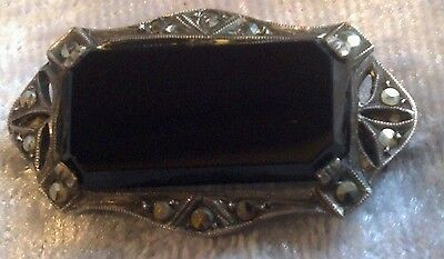 Vintage Signed Germany Sterling Silver Black Onyx Mourning Brooch Marcasite.