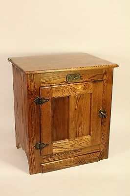 White-Clad Ice-Box Cabinet Night-Stand Side Table Vtg Antique Style Furniture