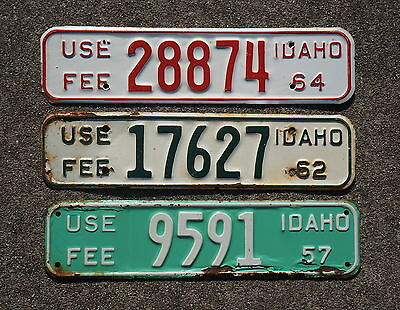 1957 1962 & 1964 Idaho License Plate Topper Tags Lot Of 3