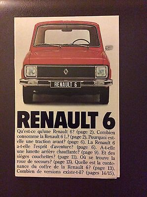 1977 Renault 6 Sales Brochure - French Text