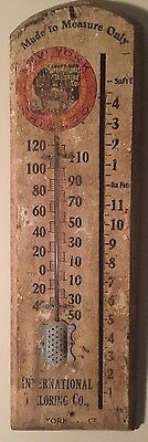 Original WOOD INTERNATIONAL TAILORING CO THERMOMETER New York Chicago Sign 6x22""