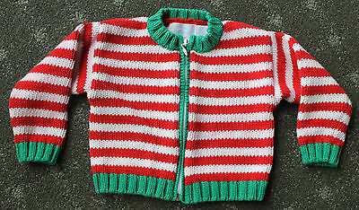 12 Months Christmas Sweater Hartstrings® Red/White Candycane Striped Green Trim