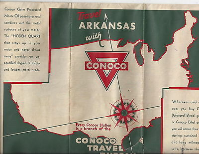 Conoco Gasoline Vintage Arkansas Highway Road Map