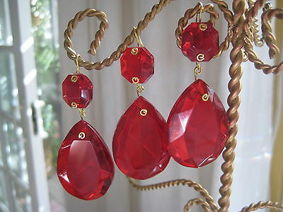 "6 Vintage Red Chandelier Crystal Prism Faceted Drop Czech Republic 2 1/4"" long"