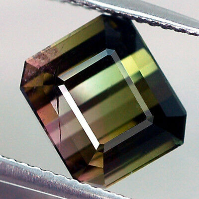 3.96Ct Awesome Aa Octagon Bi Color Green & Pink Watermelon Tourmaline