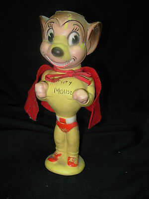 Vintage MIGHTY MOUSE SQUEAKY TOY with the ORIGINAL FELT CAPE