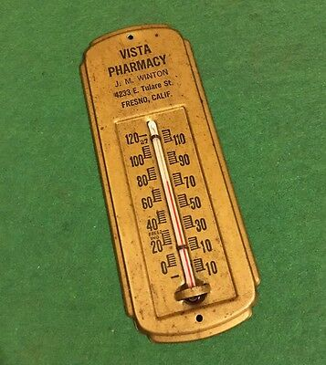 Vintage Small Metal Advertising Wall Thermometer Working Thermometer