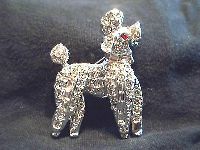Vintage Rhinestone Pin Brooch Poodle Dog Shape New Old Stock Rare Find Must See!