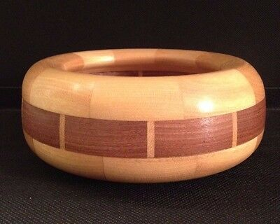 Yellow Heart Segmented Bowl With Sapele Wood, Handcrafted