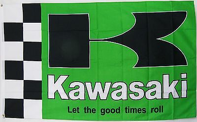 Kawasaki Motorcycle 3' X 5' Flag Indoor Outdoor Banner Let The Good Times Roll