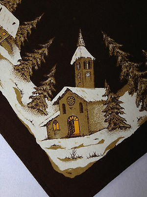 Vintage Christmas Tablecloth Churches Trees Snow 53x74 Brazil Cotton Oblong