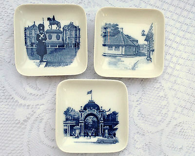 3 Royal Copenhagen Denmark Square Trinkets Dishes 2985 (591)